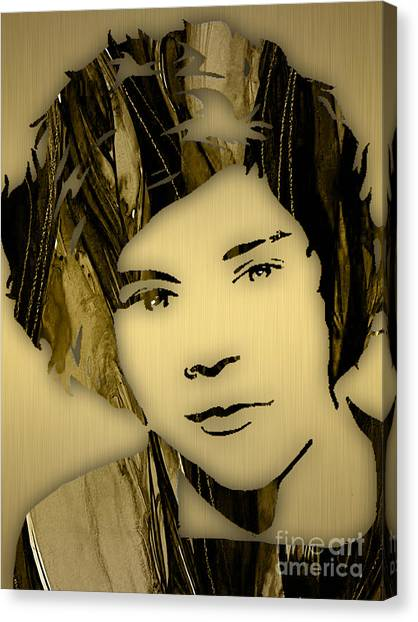 One Direction Canvas Print - Harry Styles Collection by Marvin Blaine