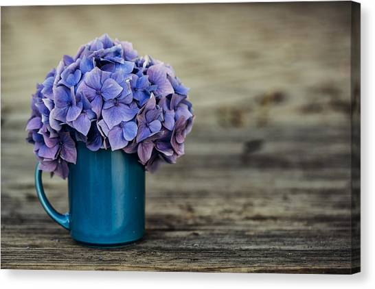 Flower Bouquet Canvas Print - Hortensia Flowers by Nailia Schwarz