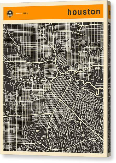Houston Canvas Print - Houston Map by Jazzberry Blue