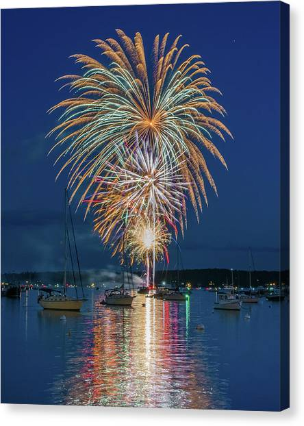 Independence Day Fireworks In Boothbay Harbor Canvas Print