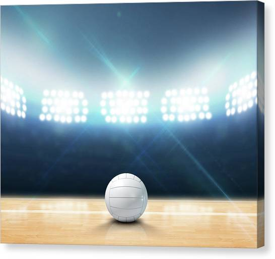 Volleyball Canvas Print - Indoor Floodlit Volleyball Court by Allan Swart