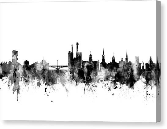Iowa Canvas Print - Iowa City Iowa Skyline by Michael Tompsett