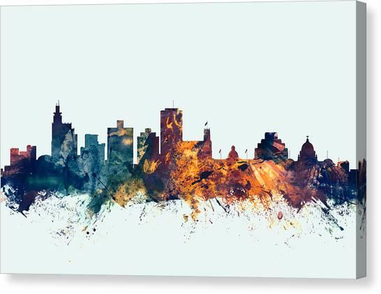 Mississippi Canvas Print - Jackson Mississippi Skyline by Michael Tompsett
