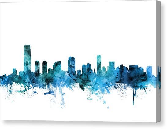 Jerseys Canvas Print - Jersey City New Jersey Skyline by Michael Tompsett