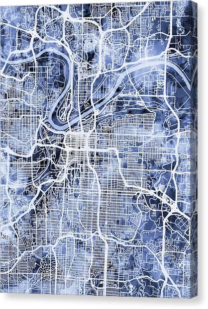 Missouri Canvas Print - Kansas City Missouri City Map by Michael Tompsett