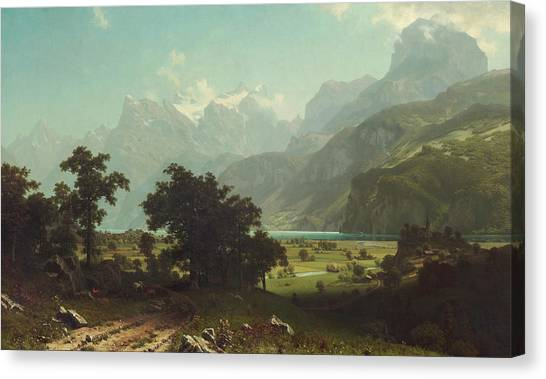 Mountain Cliffs Canvas Print - Lake Lucerne by Albert Bierstadt