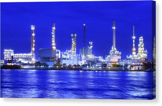 Landscape Of River And Oil Refinery Factory  Canvas Print
