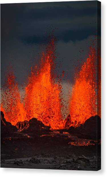 Ashes Canvas Print - Lava Fountains At The Holuhraun Fissure by Panoramic Images