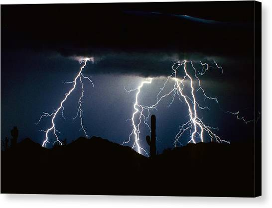 4 Lightning Bolts Fine Art Photography Print Canvas Print