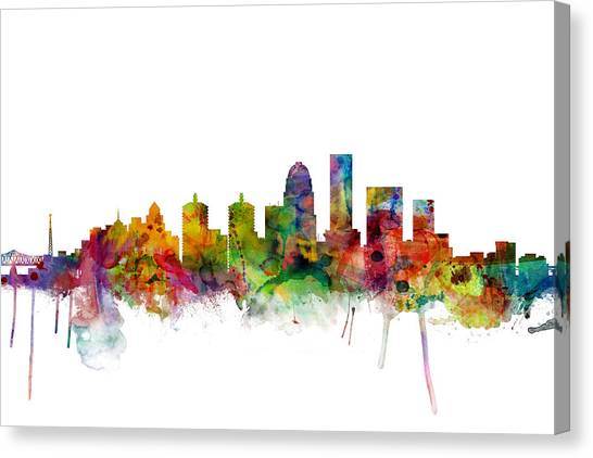 Kentucky Canvas Print - Louisville Kentucky City Skyline by Michael Tompsett