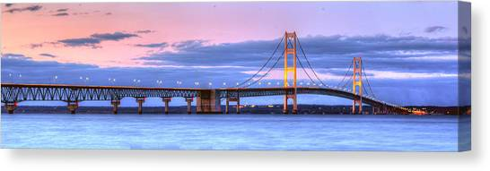 Lake Michigan Canvas Print - Mackinac Bridge In Evening by Twenty Two North Photography
