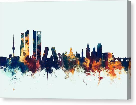 Madrid Canvas Print - Madrid Spain Skyline by Michael Tompsett