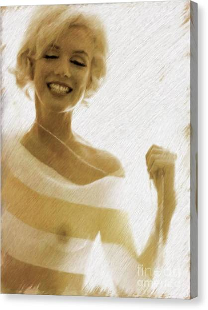 Nipples Canvas Print - Marilyn Monroe, Actress And Model by Mary Bassett