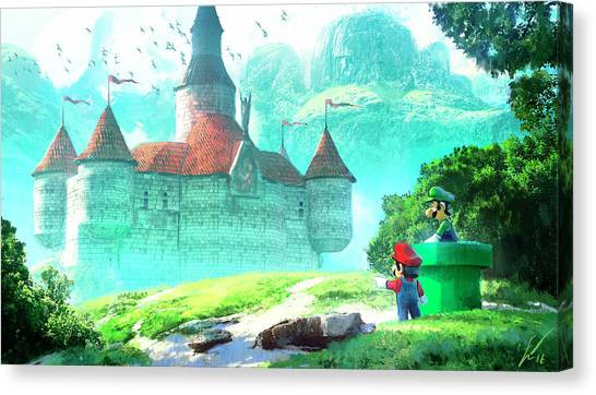 Temples Canvas Print - Mario by Super Lovely