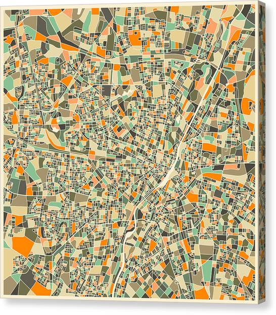 German Canvas Print - Munich Map by Jazzberry Blue