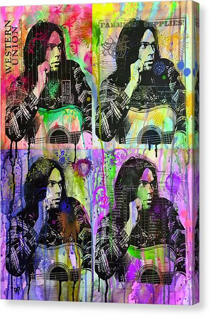 Neil Young Canvas Print - 4 Neil by Dean Russo Art