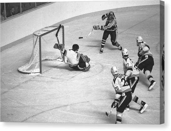 Edmonton Oilers Canvas Print - Nhl Hockey At The Pacific Coliseum by Steve Tobus