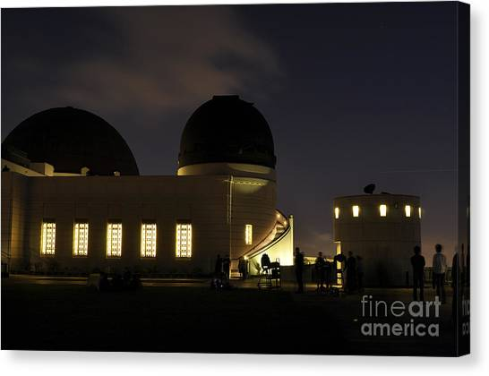 Night At Griffeth Observatory Canvas Print