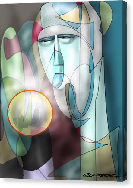 Nun Peering Into Crystal Ball Canvas Print
