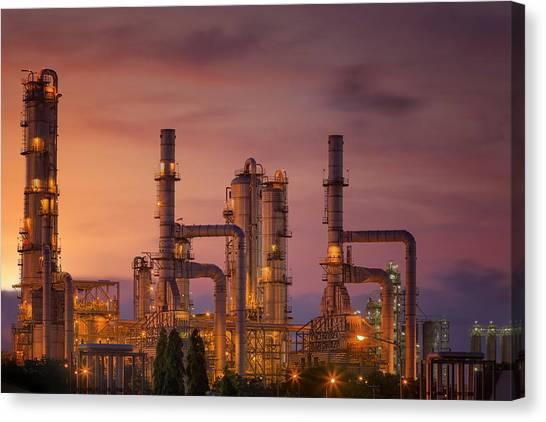 Oil Refinery At Twilight Sky Canvas Print
