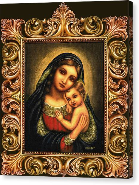 Rennaissance Art Canvas Print - Oval Madonna by Ananda Vdovic