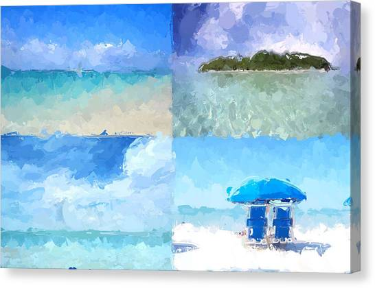 Seascape Canvas Print - 4 Panel Abstract Beach by Anthony Fishburne