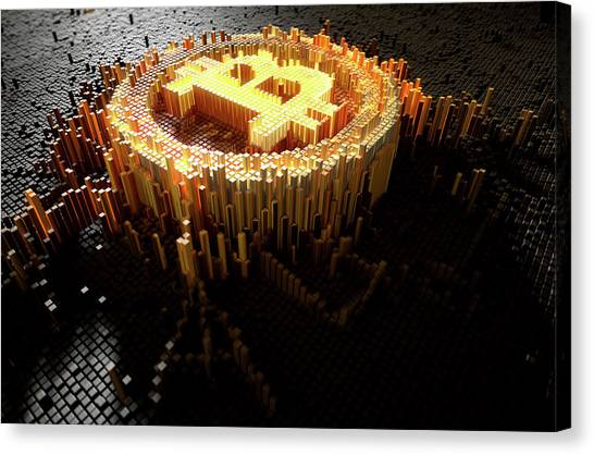 Currency Canvas Print - Pixel Bitcoin Concept by Allan Swart