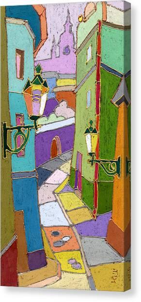 Pastel Canvas Print - Prague Old Street by Yuriy Shevchuk