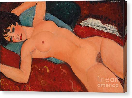 Nipples Canvas Print - Reclining Nude by Amedeo Modigliani