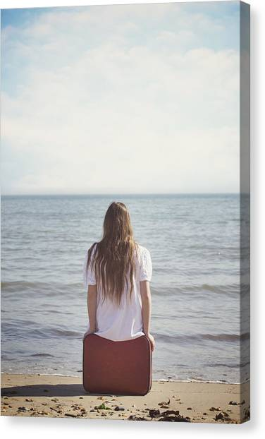 Waiting Girl Canvas Print - Red Suitcase by Joana Kruse