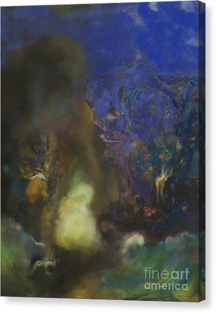 Mythological Creatures Canvas Print - Roger And Angelica by Odilon Redon