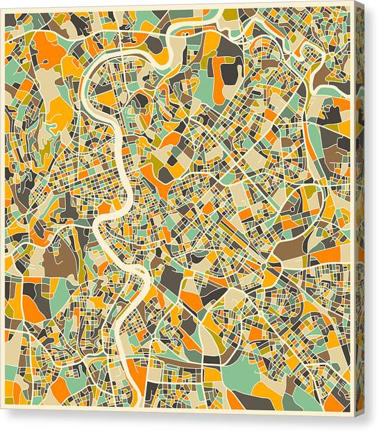 Canadian Artists Canvas Print - Rome Map by Jazzberry Blue
