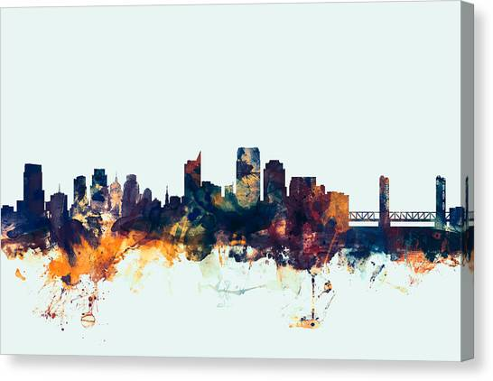 Sacramento State Canvas Print - Sacramento California Skyline by Michael Tompsett