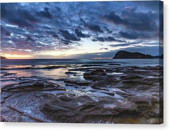 Seascape Cloudy Nightscape Canvas Print