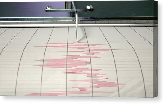 Earthquake Canvas Print - Seismograph Earthquake Activity by Allan Swart
