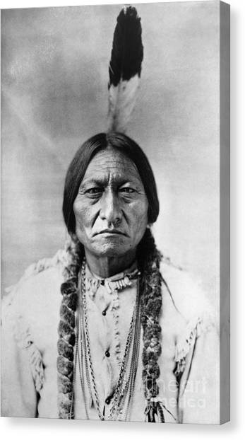 Bulls Canvas Print - Sitting Bull 1834-1890. To License For Professional Use Visit Granger.com by Granger