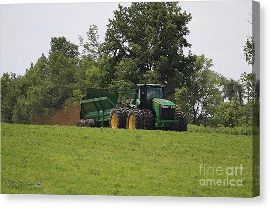 Canvas Print - Spreading Manure by J McCombie