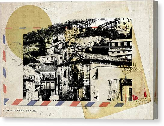 stylish retro postcard of Porto  Canvas Print