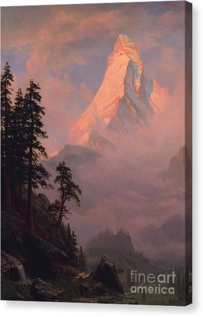 Matterhorn Canvas Print - Sunrise On The Matterhorn by Albert Bierstadt