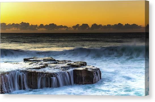 Sunrise Seascape With Cascades Over The Rock Ledge Canvas Print