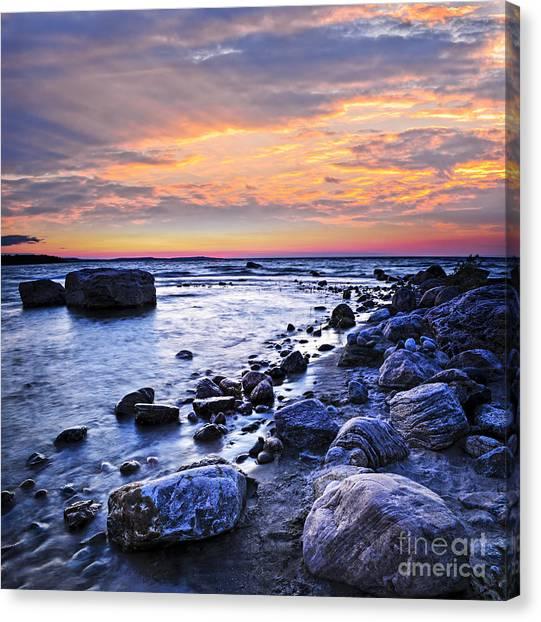Sun Set Canvas Print - Sunset Over Water by Elena Elisseeva