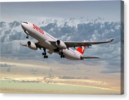Swiss Canvas Print - Swiss Airbus A330-343 by Smart Aviation
