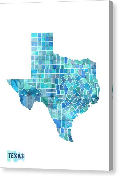 Dallas Stars Canvas Print - Texas Watercolor Map by Michael Tompsett