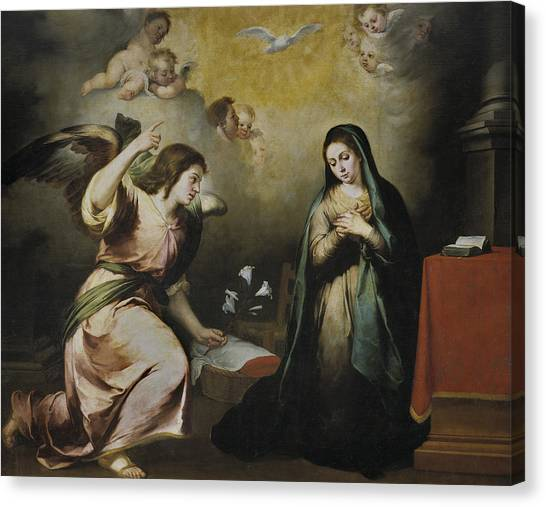 Baroque Art Canvas Print - The Annunciation by Bartolome Esteban Murillo