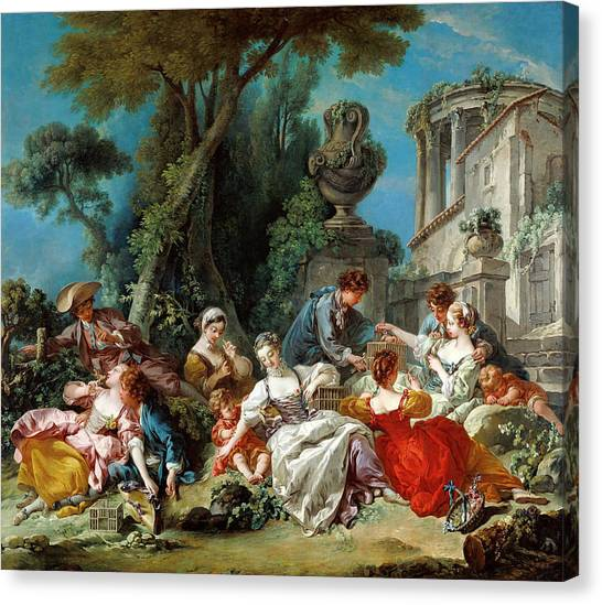 Rococo Art Canvas Print - The Bird Catchers by Francois Boucher