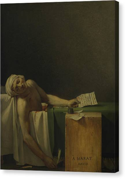Neoclassical Art Canvas Print - The Death Of Marat  by Jacques-Louis David