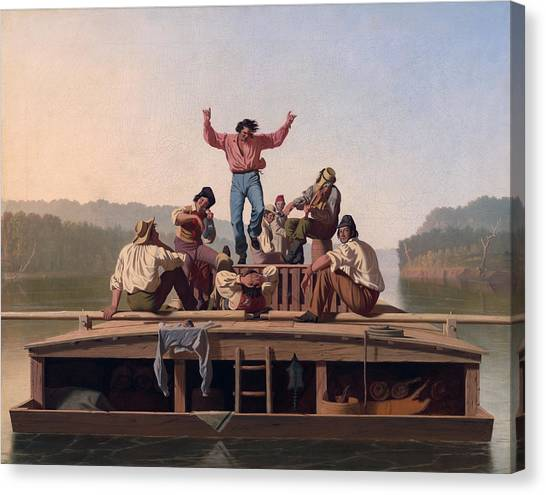 The Jolly Flatboatmen Canvas Print