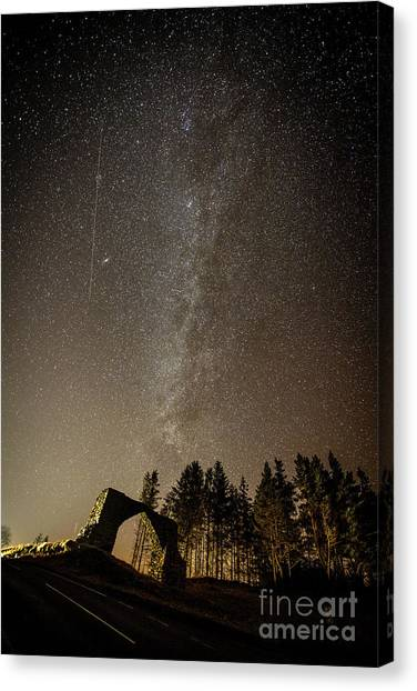 The Milky Way Over The Hafod Arch, Ceredigion Wales Uk Canvas Print