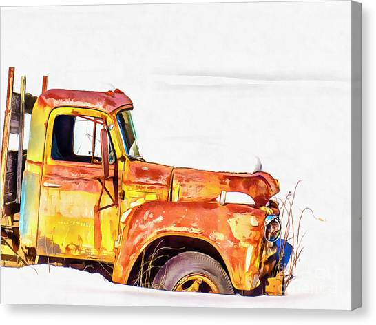 Rusty Truck Canvas Print - The Old Farm Truck by Edward Fielding