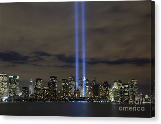 Canvas Print featuring the photograph The Tribute In Light Memorial by Stocktrek Images